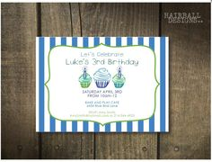 Custom Stripe Cupcake Birthday Invitation by HairballDesigns, $65.00