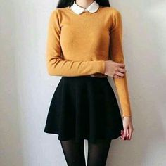 Jupe patineuse et pull jaune - Best Outfits Ideas 2019 Mode Outfits, Fall Outfits, Fashion Outfits, Womens Fashion, Fasion, Fashion Hair, Winter Outfits With Skirts, Prep Outfits, Club Outfits