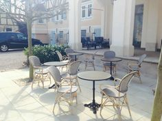 Isabell bistro chair from the Affaire Collection. Pictured as a wonderful french style bistro at the http://www.bellinihotel.de hotel in Germany. Cafe chairs are available at http://www.sika-design.us/products/isabell-outdoor-rattan-arm-chair  #sikadesign #affaire #bistro