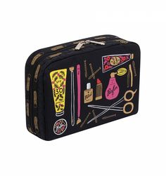 XL Rectangular Cosmetic Bag by LeSportsac featuring illustrated beauty products and metallic gold accents. Hot Pink interior lining