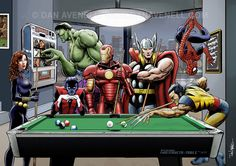 Afterhours  When superheroes relax with some pool - Black Widow, Hulk, Nightcrawler, Iron Man, Thor, Wolverine and Spider-Man. buy a print at http://www.danavenell.com/afterhours-dan-avenell/