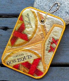 Luggage Tag from Recycled Dos Equis Beer Labels by squigglechick, $12.00