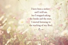 I have been a seeker and I still am, but I stopped asking the books and the stars. I started listening to the teaching of my soul. - Rumi
