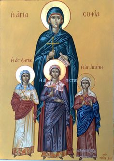 Icon of Holy Martyrs Faith, Hope, Love and Their Mother Sofia.  αγία Σοφία