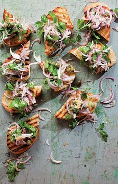 "LATE SUMMER APPETIZERS: ""Whether you're entertaining guests or simply treating yourself to a relaxing long weekend, there's no better time to dig in and enjoy. From shrimp satay to a goat cheese and squash tart, these 15 finger-friendly appetizers embrace the best ingredients of the changing season."" (Saveur.com)"