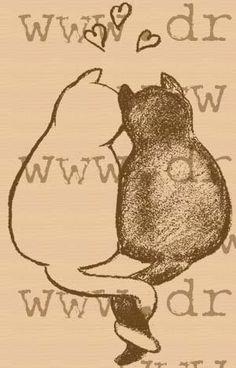 Cat Love rubber stamp.. $8.00, via Etsy.