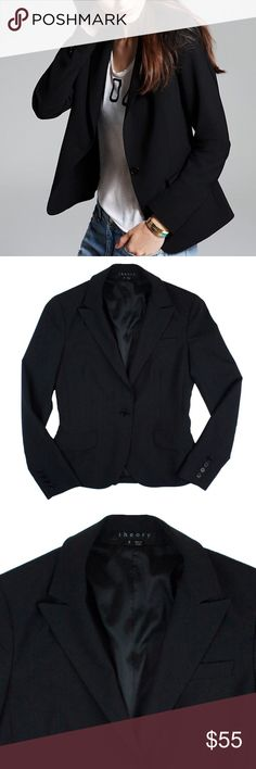 """THEORY Black Stretch Wool Gabe Blazer Jacket Excellent condition! This black stretch wool blazer from Theory features front pockets. Button closures and is fully lined. Made of: 59% wool, 38% polyester, 3% Lycra. Measures: bust: 33"""", total length: 22"""", sleeves: 23.5"""" Theory Jackets & Coats Blazers"""
