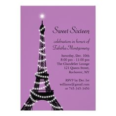 eiffel tower invitation   Purple Eiffel Tower