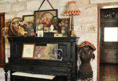 This little vignette stole my heart.  (Fiona and Twig: A Fredericksburg Gem) piano, door in background