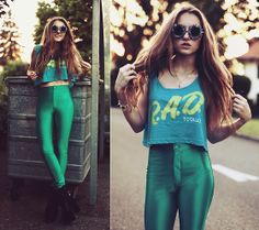 Creep Street Crop Top, Armani Exchange  Disco Pants, Sirenlondon Heels, Dragonberry Sunflower Glasses