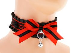 Black red satin lace Day Collar Pet Kitten Gear by FashionForWomen