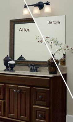 Such a simple update to the bathroom - frame your existing mirror!