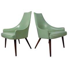 Unique Pair of Midcentury Highback Armchairs  | 1stdibs.com