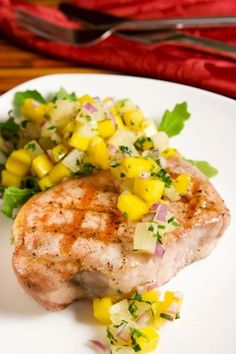 This is the first month that I planned out the whole month of menus. I find it much easier to make dinner when I k Cooking For A Crowd, Cooking On A Budget, Budget Meals, Weekly Budget, Weekly Menu, Pineapple Pork Chops, Peach Pork Chops, Pineapple Salsa, Peach Salsa