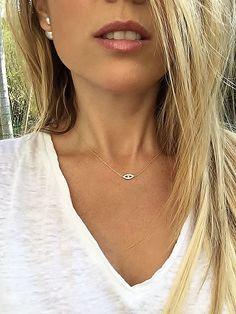 Harmony Evil Eye Necklace Gold Evil Eye Diamond Evil by TatiRocks #EvilEye #EvilEyeNeckklace #HandmadeJewelry