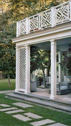Front loggia columns and trellis
