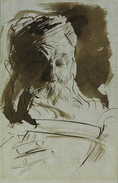 """""""Rodin Reading"""" (1902)  Pen and ink and wash by John Singer Sargent     7 x 4 5/8 inches    John Singer Sargent, Rodin Reading, 1902.Ê Pen and ink and wash, 7 x 4 5/8 in. Cantor Arts Center, Stanford, Gift of B. Gerald Cantor, 1977.19. Photo: Unknown, Cantor Arts Center, Stanford"""