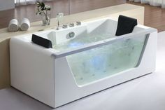 EAGO AM196HO Clear Rectangular Whirlpool Bath Tub for Two w Fixtures, Inline Heater & Ozone Disinfector