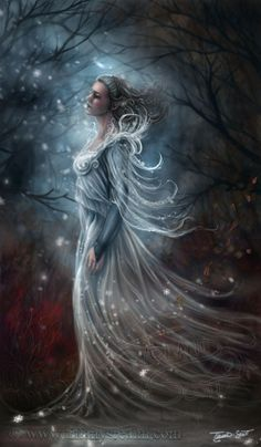 16x20 First Kiss of Frost fairy winter forest by TiffanysRealm