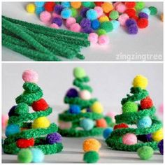 Craft Christmas tree craft with pipe cleaners and pom poms