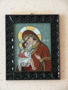 sm 05 Art Icon, Madonna, Folk Art, Stained Glass, Frame, Painting, Angeles, College, Icons
