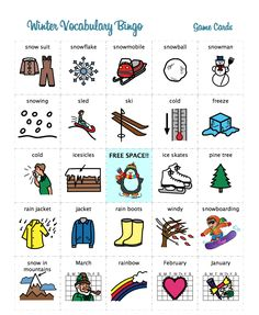 Heather's Speech Therapy: Winter Speech Therapy Bingo Game. Pinned by SOS Inc. Resources. Follow all our boards at pinterest.com/sostherapy/ for therapy resources.