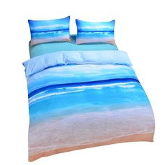 Hot Print Beach Ocean Bedding Set Duvet Cover With Pillowcases Sets Twin Full Queen King Sizes Home Bedclothes Textile Ocean Bedding, Galaxy Bedding, Beach Bedding Sets, Cheap Bedding Sets, Queen Bedding Sets, Duvet Bedding, Comforter Sets, Bedding Shop, Beach Comforter