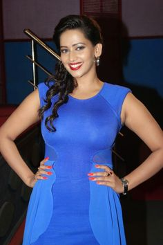 Tamil Movie Actress Sanjana Singh in Blue Colour Tight One Piece Dress