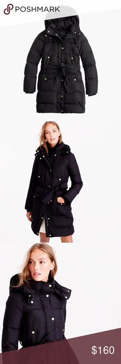 """J. Crew Wintress belted puffer coat XXS SIZE & FIT Fitted. Body length: 35 5/8"""". Sleeve length: 34 1/4"""". Hits above knee. PRODUCT DETAILS Winter, meet your new nemesis: Our long down puffer coat is a cold-weather rebel, designed to insulate (even when you can't remember what the sun feels like). A roomy hood retains extra degrees while a waist-nipping belt makes the silhouette flattering. We don't think keeping warm should mean becoming a human sleeping bag.  Down-filled poly. Hidden zip…"""