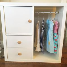 "I've been searching for a way to organize and store my daughter's clothes that will allow her to choose what she wears and help her be responsible for putting her clothing away. Thanks to @thismerrymontessori I found the perfect solution! Care of self is an important part of toddlerhood. Creating an environment that allows children to independently dress relieves so many frustrations for both the child and parent. ""Any child who is self-sufficient, who can tie his shoes, dress or undress…"