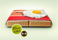 B Hotels: Bacon // Ad from creative German agency Publicis. Bed and breakfast adverts can often be dull and regurgitated in their concepts but this campaign is a feast for the eyes. Creative Advertising, Print Advertising, Advertising Campaign, Advertising Ideas, Product Advertising, Hotel Advertisement, Hotel Ads, Design Blog, Ad Design