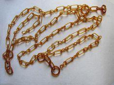 Antique 19thC Folk Art Glass Chain, Whimsy, Blown Glass Chain