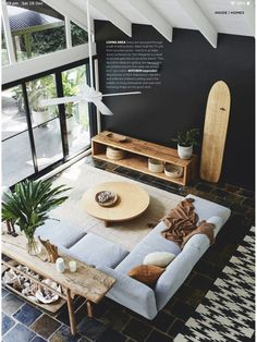 The award-winning Neo sofa features in the latest beautifully styled in neutral tones and natural textures. Slate Flooring, Garage Apartments, Dark Walls, Home Decor Trends, Outdoor Furniture, Outdoor Decor, Home Accessories, Indoor, Interior Design