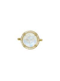 Irene Neuwirth- Rose Cut Rainbow Moonstone Ring with Diamonds