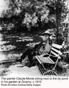 Monet sitting next to the waterlily pond in his garden at Giverny in France  Palettes and Techniques of Monet