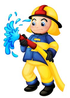 A fireman holding a yellow water hose vector image on VectorStock Clipart, Community Helpers Kindergarten, Hand Washing Poster, Colegio Ideas, People Who Help Us, Fireman Party, Water Hose, Cute Illustration, Fire Trucks