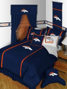 NFL Denver Broncos Full Size Comforter   Shams (3 Piece Bedding) by NFL. 4f25c89192790