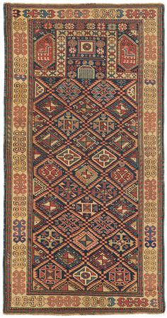 Caucasian Shirvan Prayer Rug, 3ft 2in x 6ft 1in, Circa 1850. At over 160 years of age, this superb Caucasian Shirvan Prayer Rug demonstrates the extremely clear drawing and awe-inspiring, vigorous palette that have made top-tier Caucasian rugs in this beloved tribal rug style so prized. Latchhook devices and diamond forms achieve a casual symmetry that is reinforced by the symmetrical arrangement of its creatively varied rosettes.