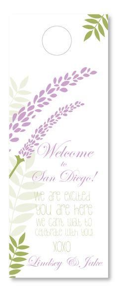 Lavender Breeze Wedding Door Hanger.