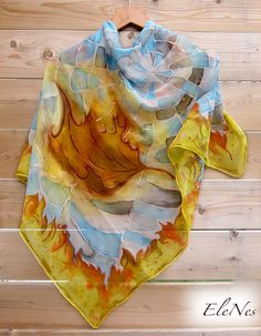 Hand Painted Silk Scarf - Hand Painted Autumn Leaves - Handpainted Silk Shawl - Crepe de chine Shawl - Silk Accessories - Ready to ship
