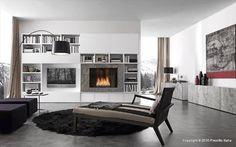 Presotto - Parete attrezzata (Pari e Dispari con camino a bioetanolo) Contemporary Italian Furniture available through Selene www.selenefurniture.com