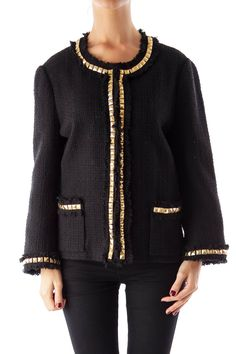 Like this Kate Spade jacket? Shop this without using money! Trade. Shop. Discover. #fashionexchange #prelovedfashion  Black Gold Studded Jacket by Kate Spade