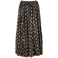 East Anisha Print Skirt, Black ($81) ❤ liked on Polyvore featuring skirts, flare maxi skirt, black flare skirt, bohemian maxi skirt, black flared skirt and long boho skirts
