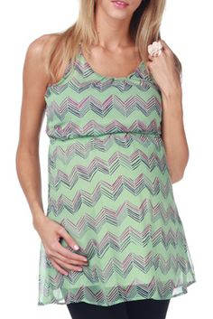Mint Green Chevron Cross Back Maternity Tunic