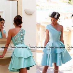Light Blue Short Homecoming Dresses 2016 One Shoulder Lace Summer Dresses Graduation Vestidos De Renda Custom Made Prom Party Gown Homecoming Dresses Debs Homecoming Dresses For Teens From Gaogao8899, $78.4| Dhgate.Com