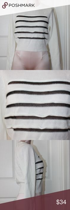 Women White Stripe Crop Pullover Knit Sweater SzM Up for sale New wit tags Women's White Stripe Crop Pullover Sweater.Sweater features Mesh Sheer Stripes on the front.  Sz M aEON Sweaters