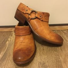 Frye Harness Western Boot Final Price❕Rare...below ankle Authentic Frye western boots with harness.  In excellent condition.  Slight scuff on right toe...just needs a bit of polish!  Beautiful color!  Size-8.5B Frye Shoes Ankle Boots & Booties