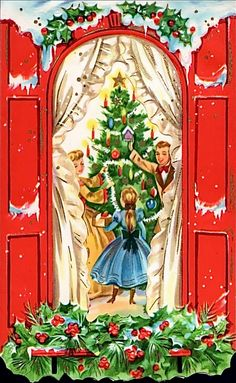 Vintage holidaycard showing a family in old fashioned dress gathering around the Christmas tree.