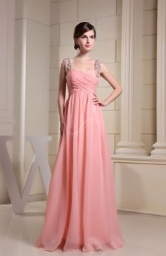 Coral Cute Thick Straps Sleeveless Chiffon Ruching Evening Dresses - iFitDress.com