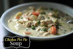 Chicken Pot Pie Soup Recipe Soups, Main Dishes with butter, medium potatoes, carrots, celery ribs, garlic, chicken broth, montreal steak seasoning, flour, milk, heavy cream, cooked chicken, frozen peas, pepper, salt, montreal steak seasoning